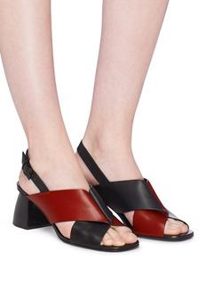 Mercedes Castillo 'Hae Mid' colourblock cross strap leather slingback sandals