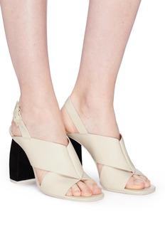 Mercedes Castillo 'Hae High' suede heel cross strap leather slingback sandals