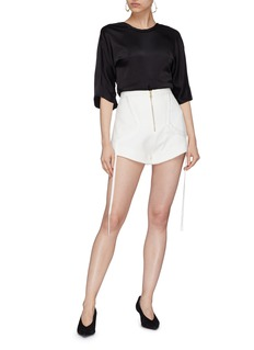 Elissa McGowan Drape tie curve trim zip front shorts