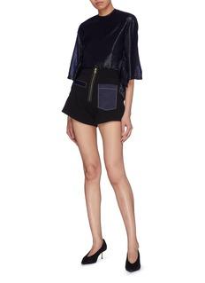 Elissa McGowan Satin pocket zip front shorts