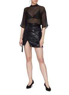 Elissa McGowan Sash notched hem faux leather skirt