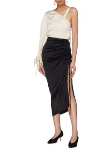 Elissa McGowan Button ruched outseam side split skirt