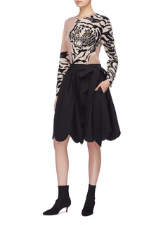 Valentino Scalloped virgin wool-silk wrap skirt