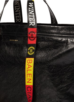 Detail View - Click To Enlarge - Balenciaga - Logo handle medium crinkled leather shopper tote