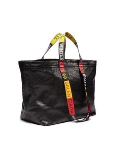 Balenciaga Logo handle medium crinkled leather shopper tote