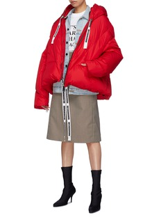KHRISJOY Slogan drawstring hooded down puffer jacket