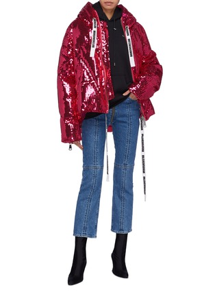 Figure View - Click To Enlarge - 10625 - Slogan drawstring hooded sequin down puffer jacket