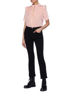 Cecilie Bahnsen 'Sam' tie keyhole front ruffle velvet T-shirt