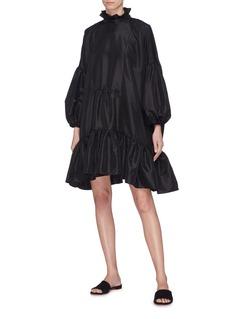 Cecilie Bahnsen 'Belle' ruffle high neck puff sleeve tiered dress