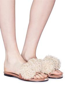Avec Modération 'Kitzbuhel' pompom velvet slide sandals