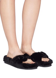 Alexander Wang  'Bee' buckle strap lamb fur slide sandals