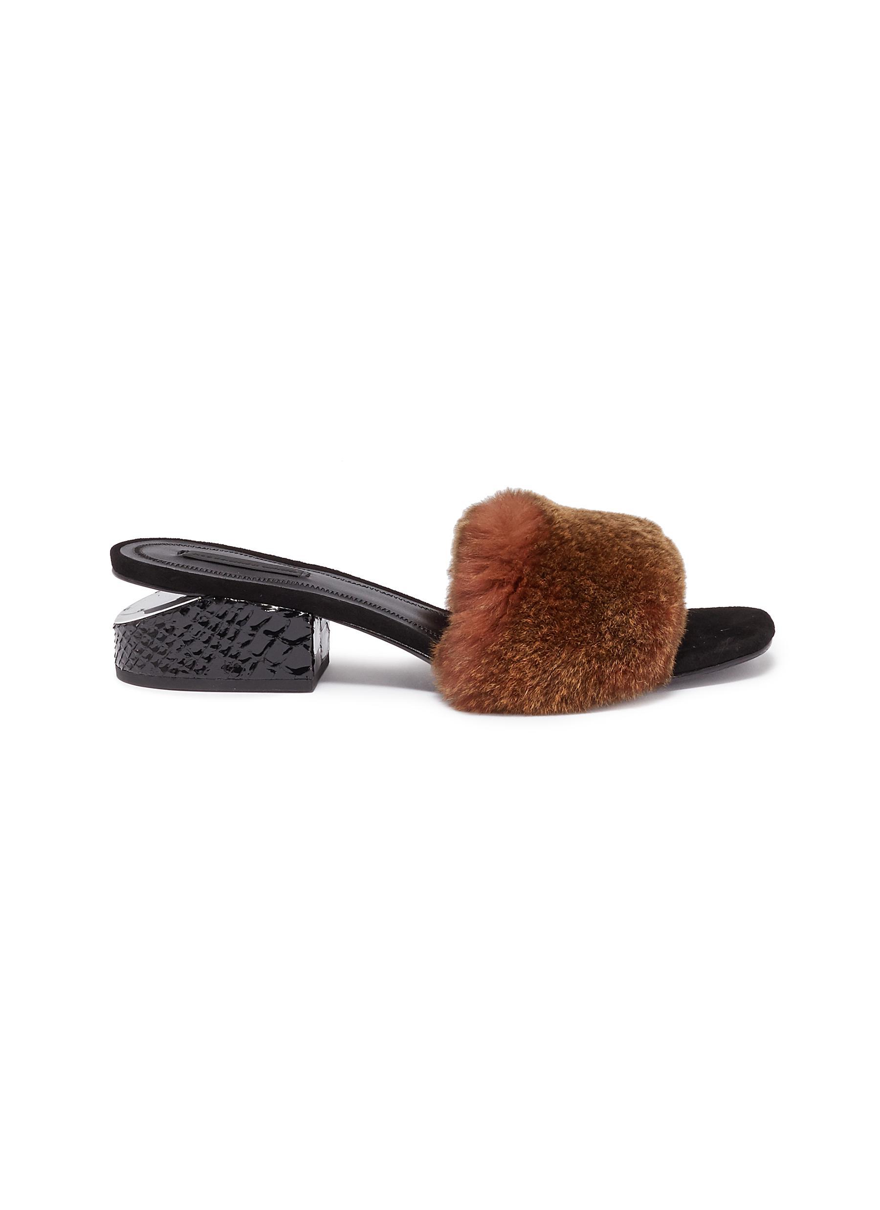Lou snake embossed cutout heel rabbit fur sandals by Alexander Wang
