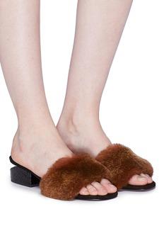 Alexander Wang  'Lou' snake embossed cutout heel rabbit fur sandals