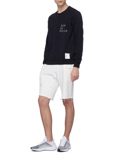 Satisfy 'Jogger' raw cuff slogan print performance sweat shorts