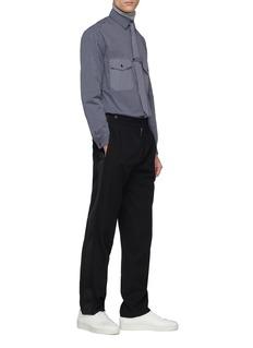 GOETZE 'Richard' gingham check pocket stripe shirt with tie