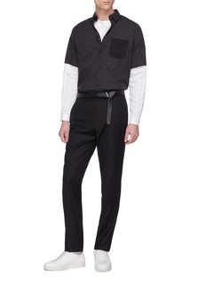 GOETZE 'Gerald' layered sleeve grid print shirt