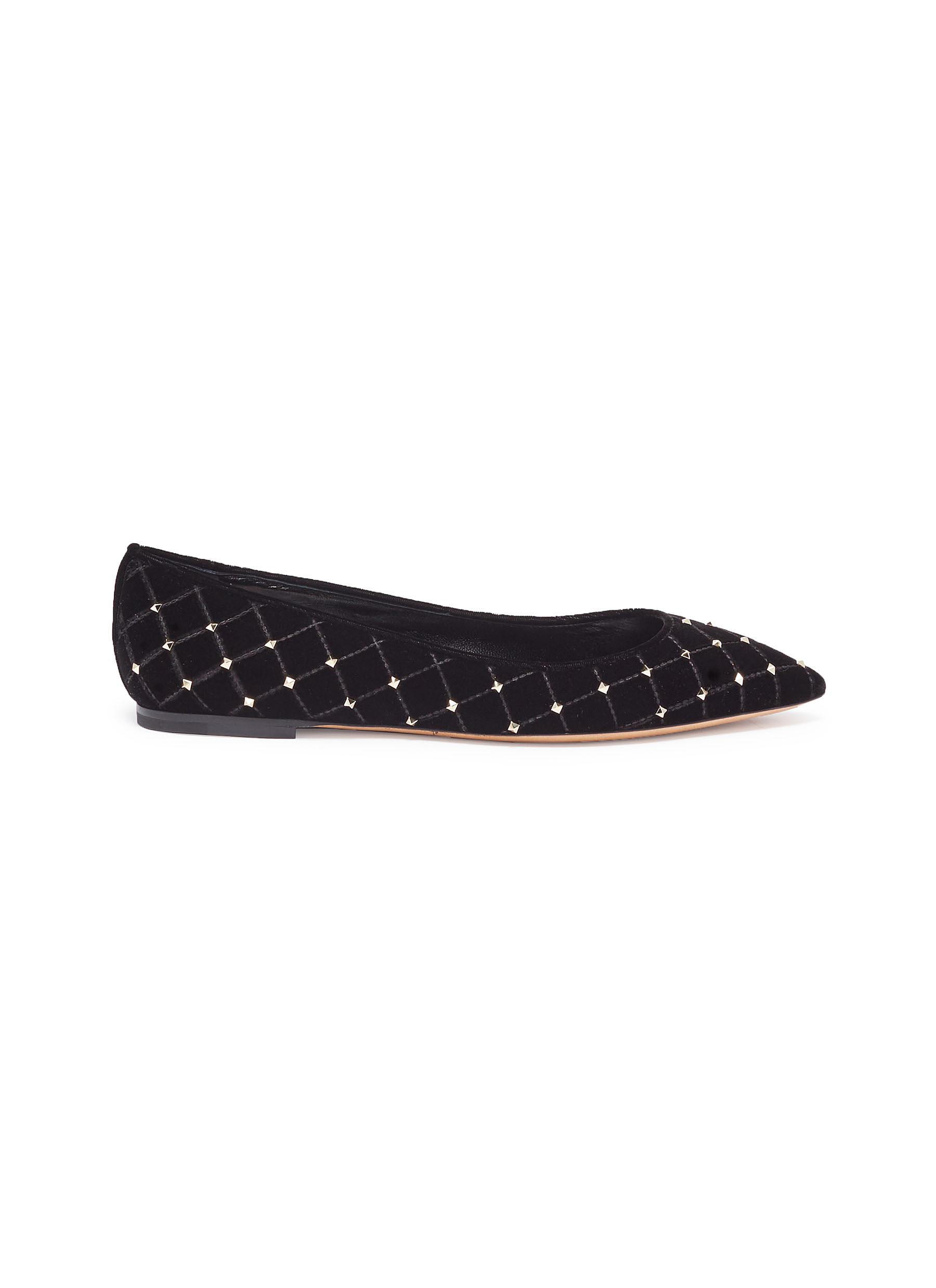 Rockstud quilted velvet skimmer flats by Valentino