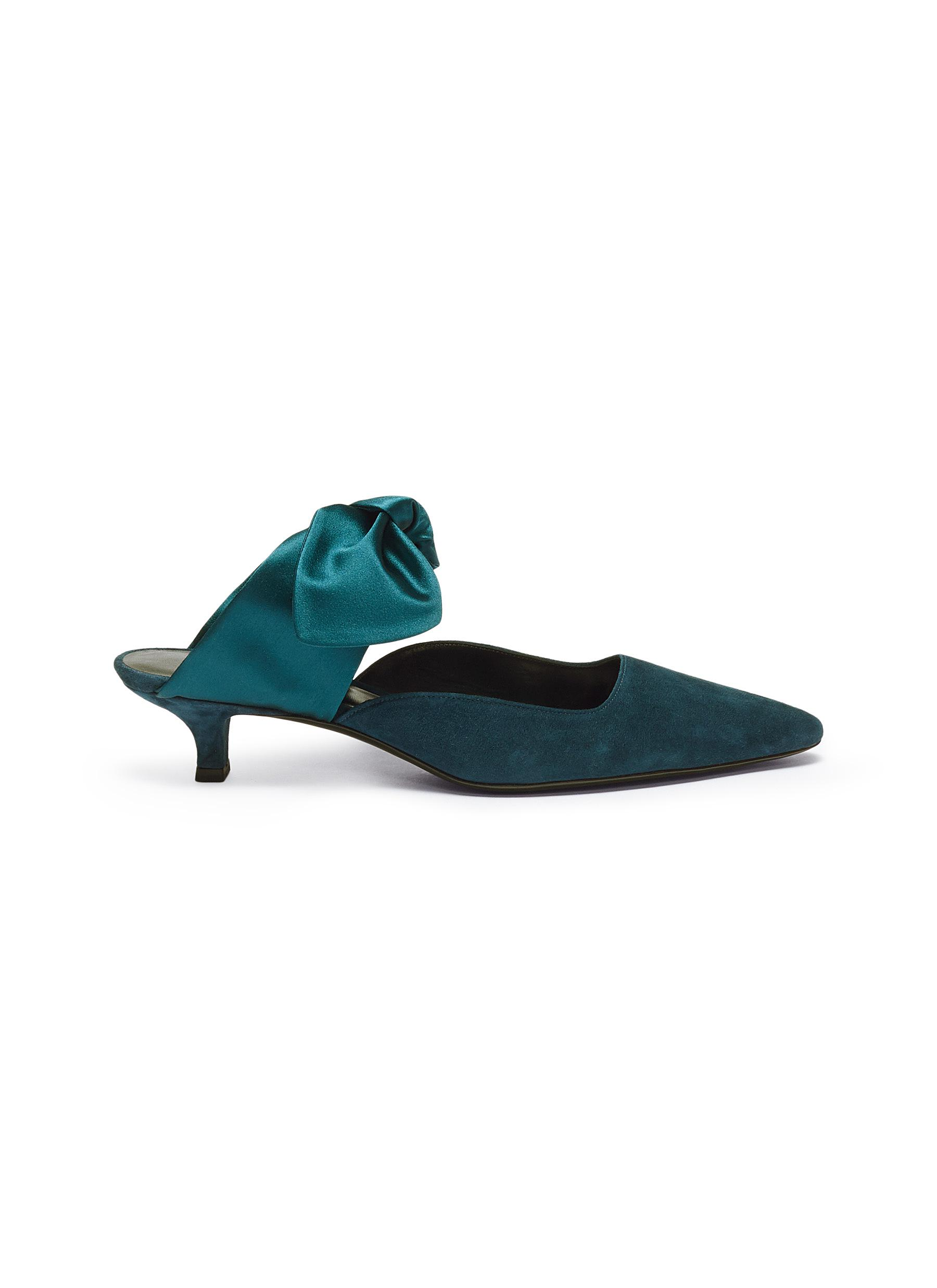 Coco satin bow suede mules by The Row