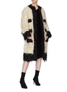 Jourden 'Cream Kitty' colourblock bouclé knit coat