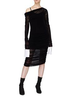 Jourden Ruched one-shoulder mesh dress