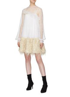 Jourden 'White Honey' bouclé knit hem crochet lace dress