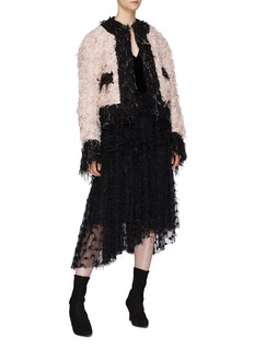 Jourden 'Pink Kitty' colourblock bouclé knit coat