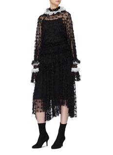 Jourden 'Black Twinkle' polka dot embroidered asymmetric skirt