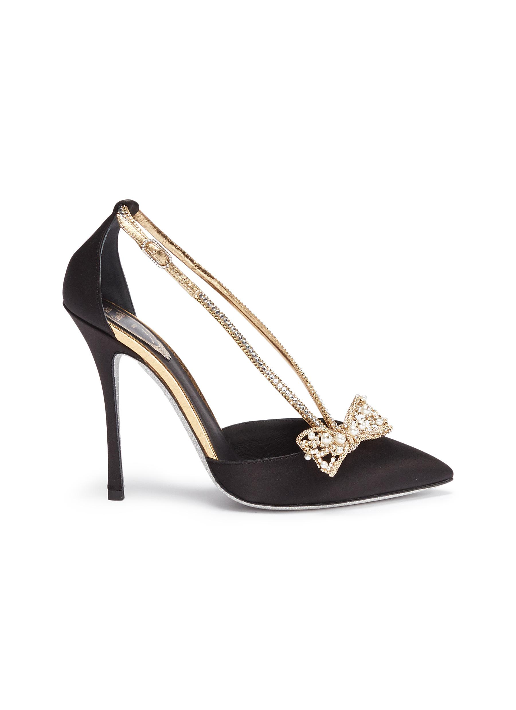 Strass strap faux pearl bow satin dOrsay pumps by René Caovilla