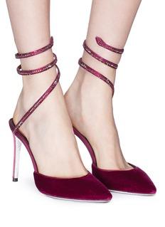 René Caovilla 'Snake' strass coil anklet velvet pumps