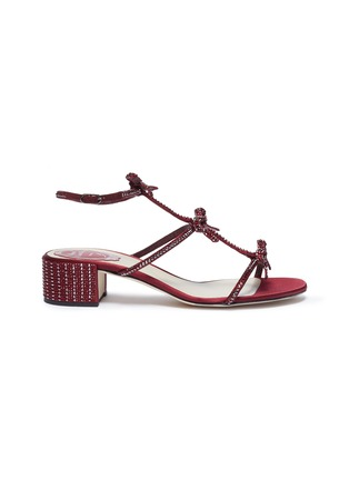 Main View - Click To Enlarge - RENÉ CAOVILLA - Strass bow caged satin sandals