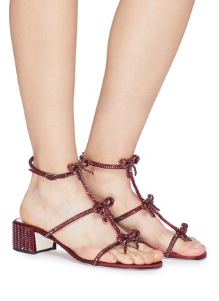 Figure View - Click To Enlarge - RENÉ CAOVILLA - Strass bow caged satin sandals