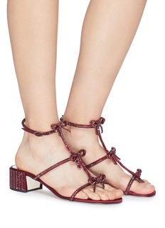 René Caovilla Strass bow caged satin sandals