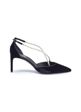 Main View - Click To Enlarge - René Caovilla - Embellished cross strap velvet d'Orsay pumps