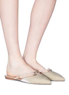 René Caovilla Bow embellished strap velvet slides