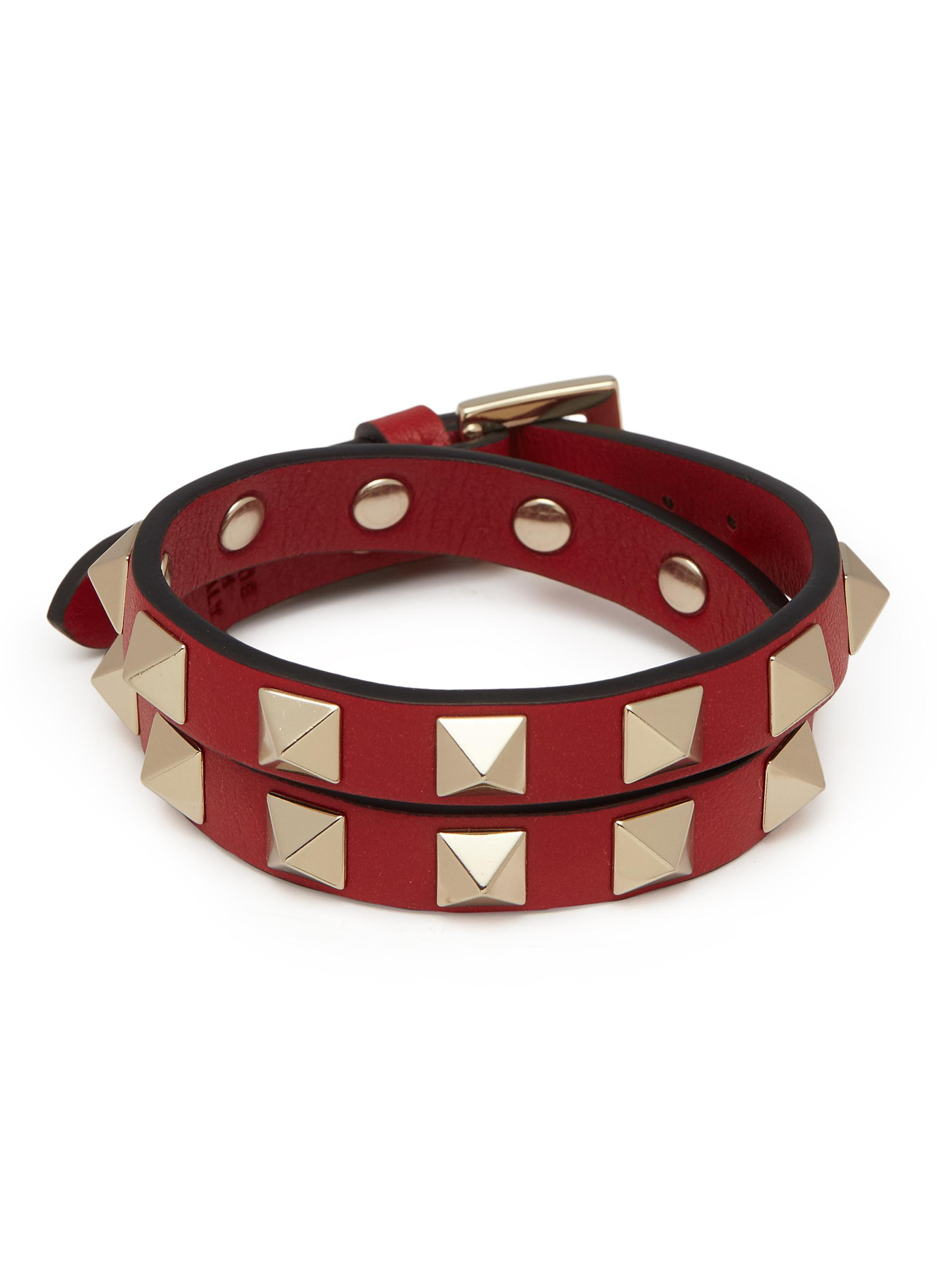 78ebad42053b Main View - Click To Enlarge - Valentino -  Rockstud  double wrap leather  bracelet
