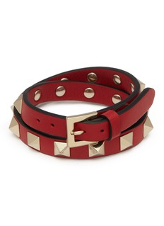 Valentino 'Rockstud' double wrap leather bracelet