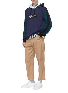 KENZO Logo appliqué double hood colourblock hoodie