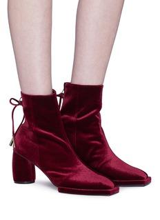 REIKE NEN Bow zip velvet ankle boots