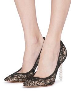 Sophia Webster 'Coco' crystal pavé bead heel lace pumps