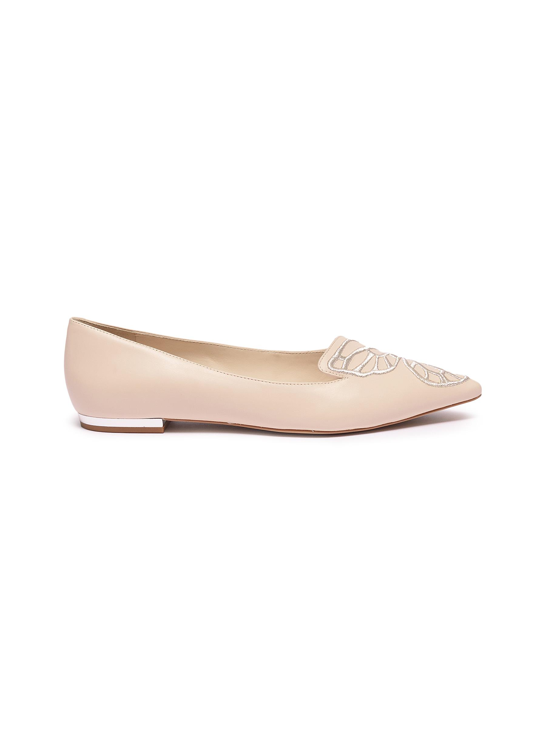 Bibi Butterfly wing embroidered leather flats by Sophia Webster
