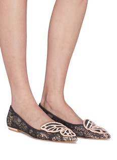 Sophia Webster 'Bibi Butterfly' wing embroidered Chantilly lace flats
