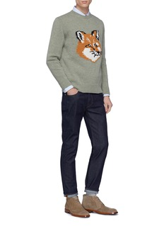 Maison Kitsuné Fox head jacquard wool sweater