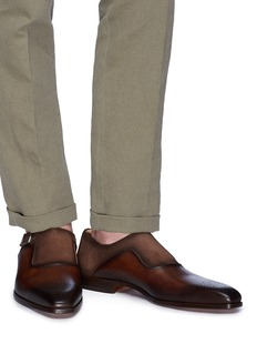 Magnanni Suede panel monk strap leather shoes