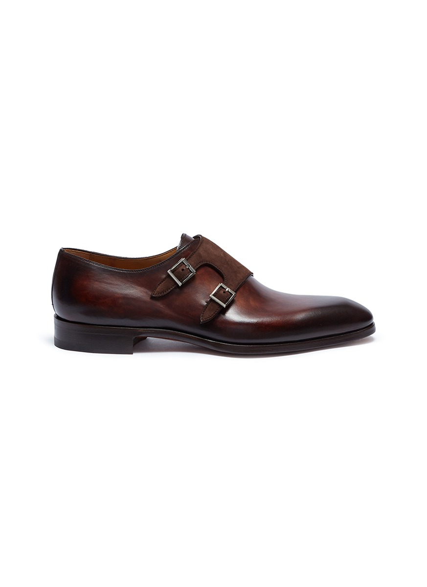 Suede double monk strap leather shoes by Magnanni