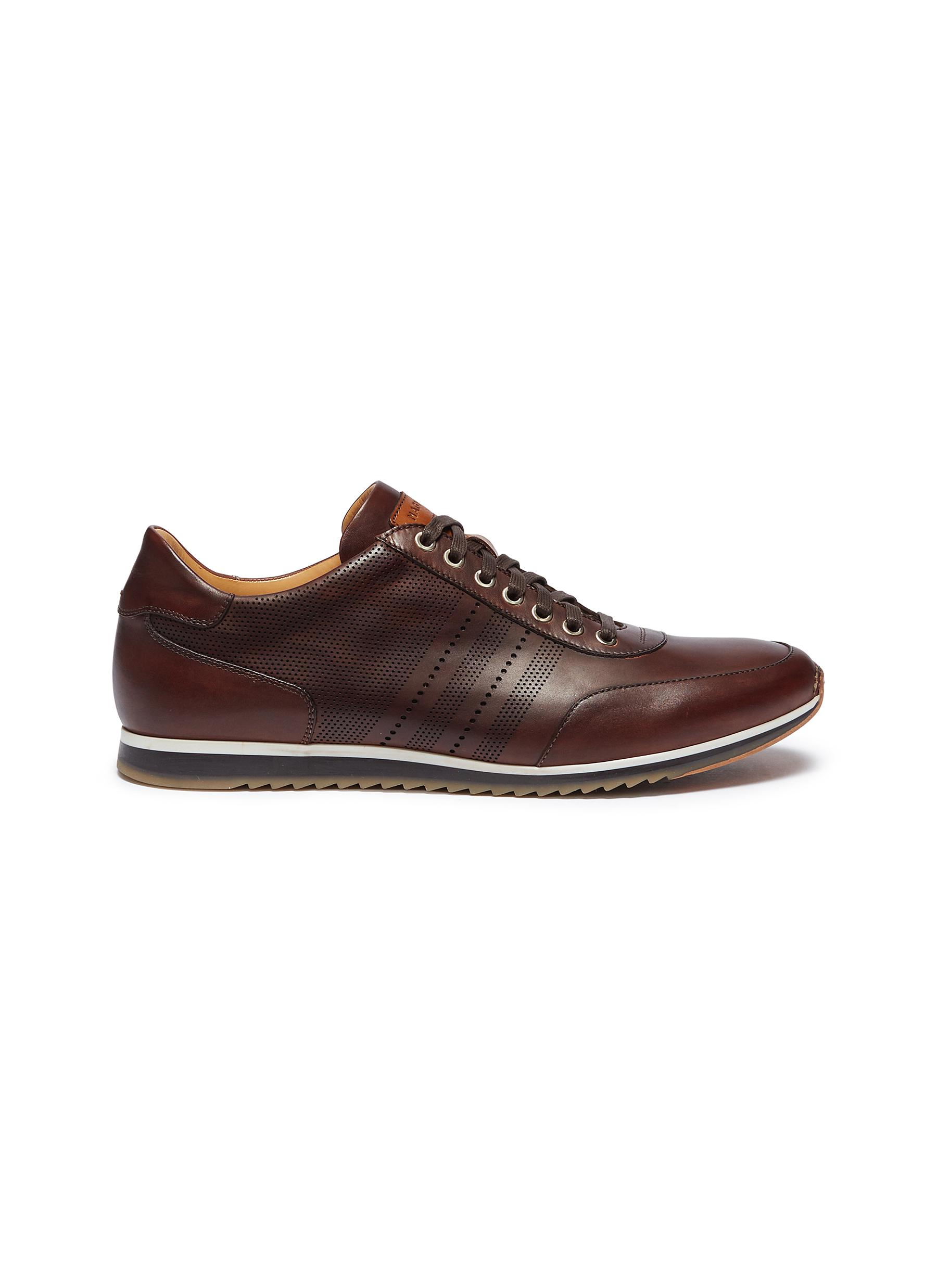 Merino perforated panel leather sneakers by Magnanni