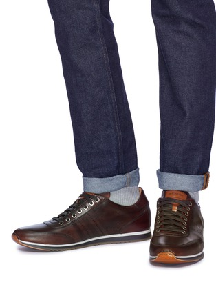 Figure View - Click To Enlarge - MAGNANNI - 'Merino' perforated panel leather sneakers