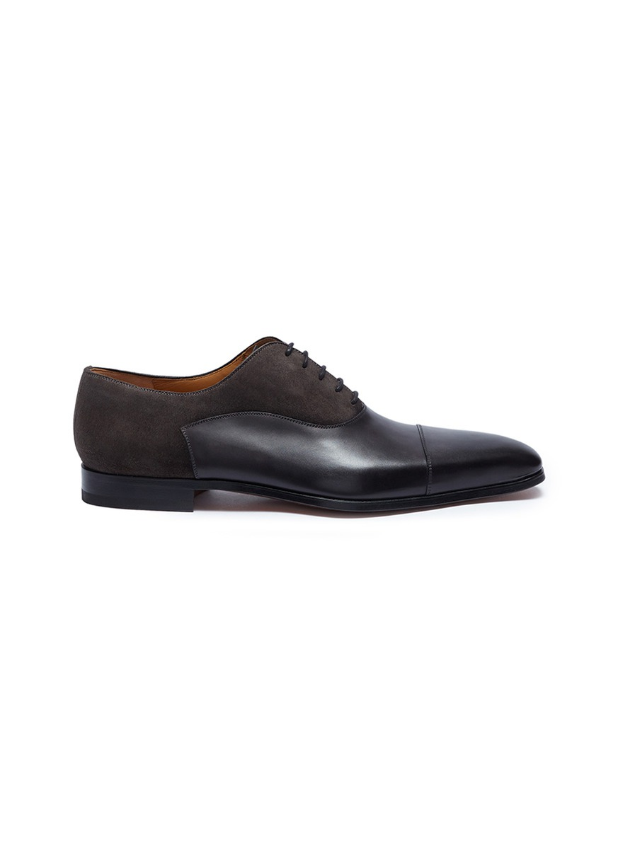 Suede panel leather Oxfords by Magnanni