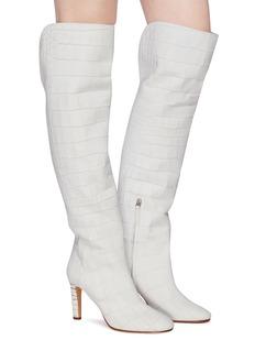 Gabriela Hearst 'Linda' croc embossed leather knee high boots