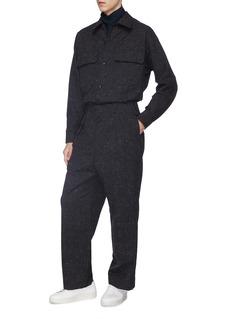 ETHOSENS Pleated straight leg wool canvas pants