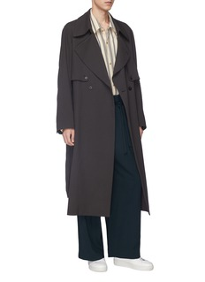 ETHOSENS Belted wool georgette trench coat